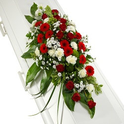 Funeral flowers - Funeral arrangement of red and white flowers